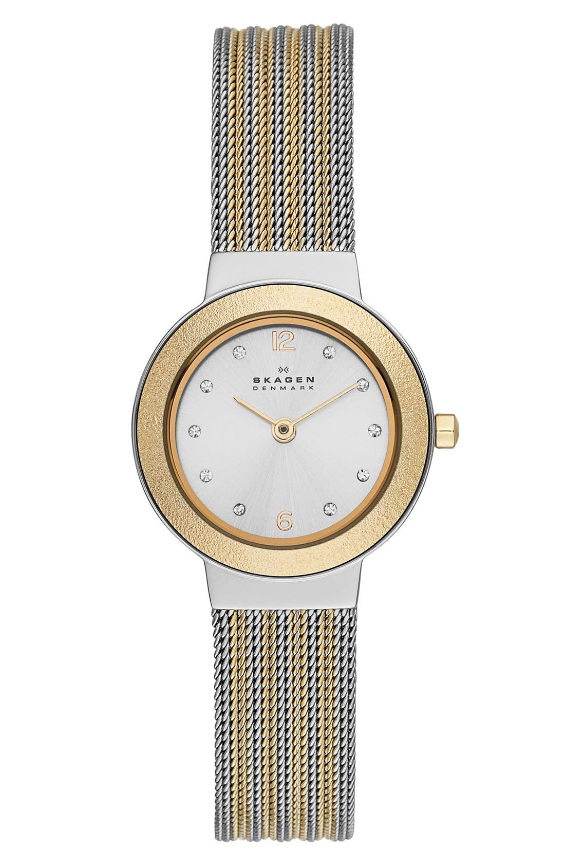 Alternate Image 1 Selected - Skagen 'Ancher' Crystal Index Round Mesh Strap Watch, 25mm