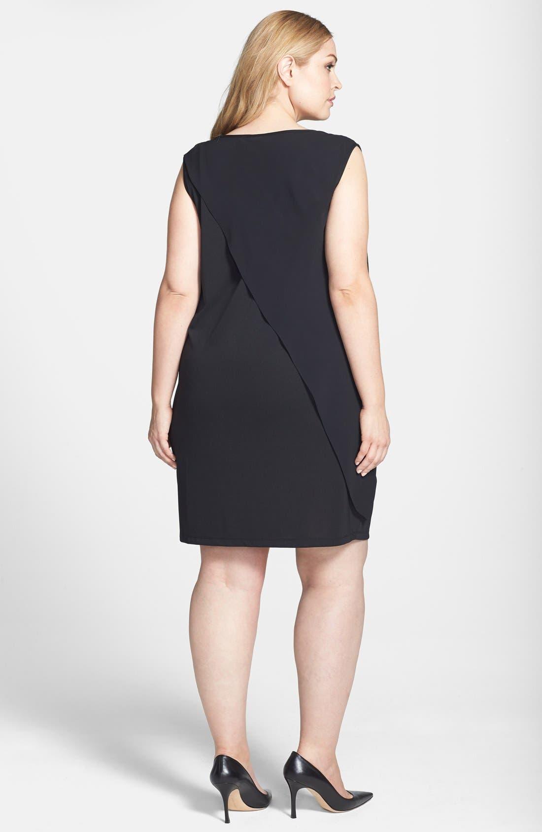 Alternate Image 2  - DKNYC Chiffon Overlay Dress (Plus Size)