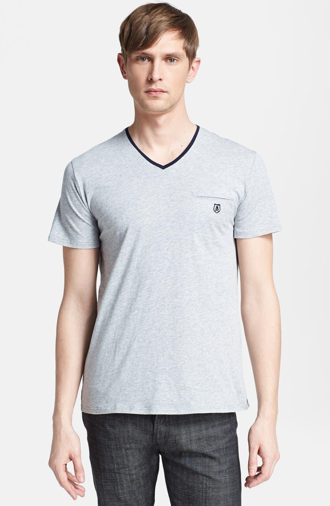 Alternate Image 1 Selected - The Kooples Embroidered Pocket V-Neck T-Shirt