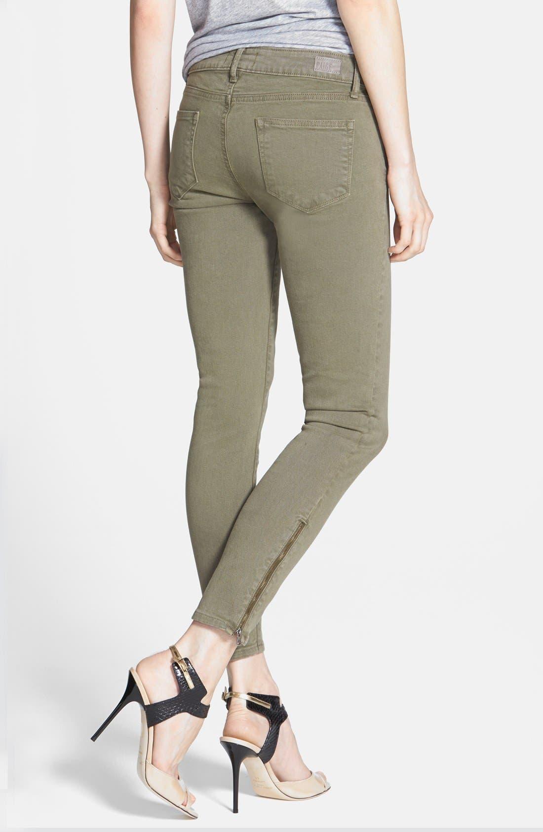 Alternate Image 2  - Paige Denim 'Jane' Zip Detail Ultra Skinny Ankle Jeans (Fatigue Green)