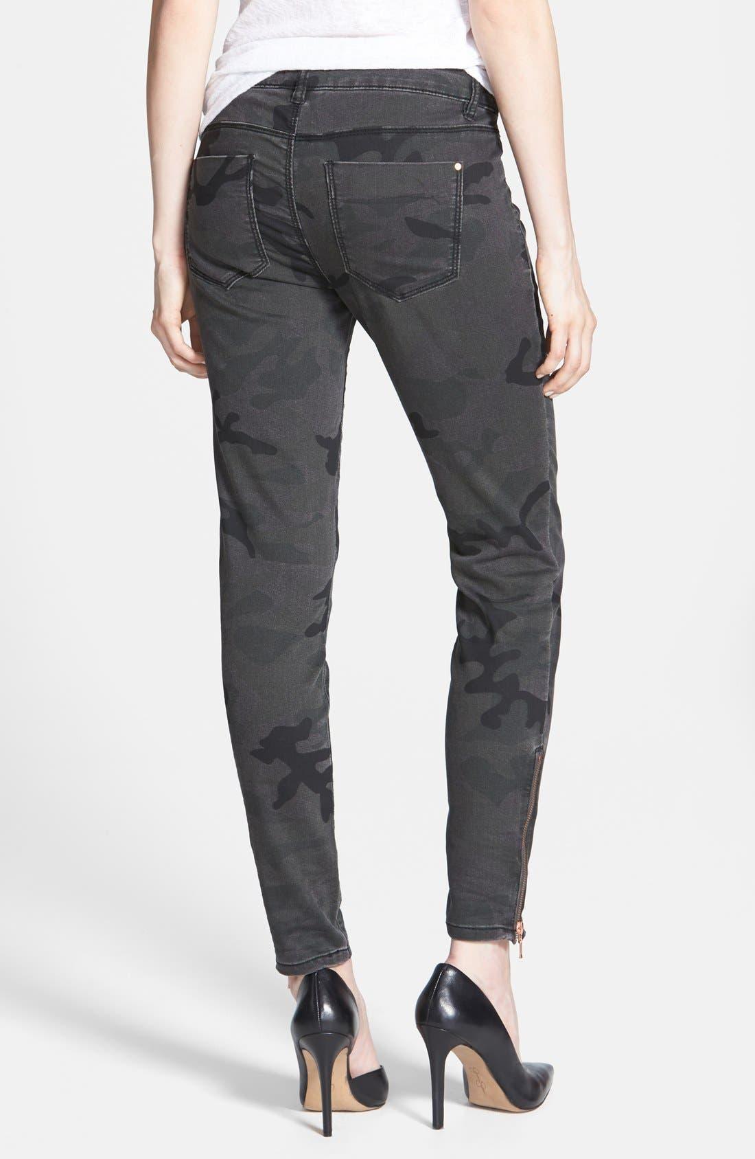 Alternate Image 2  - Fire Camouflage Skinny Jeans (Camo) (Juniors)