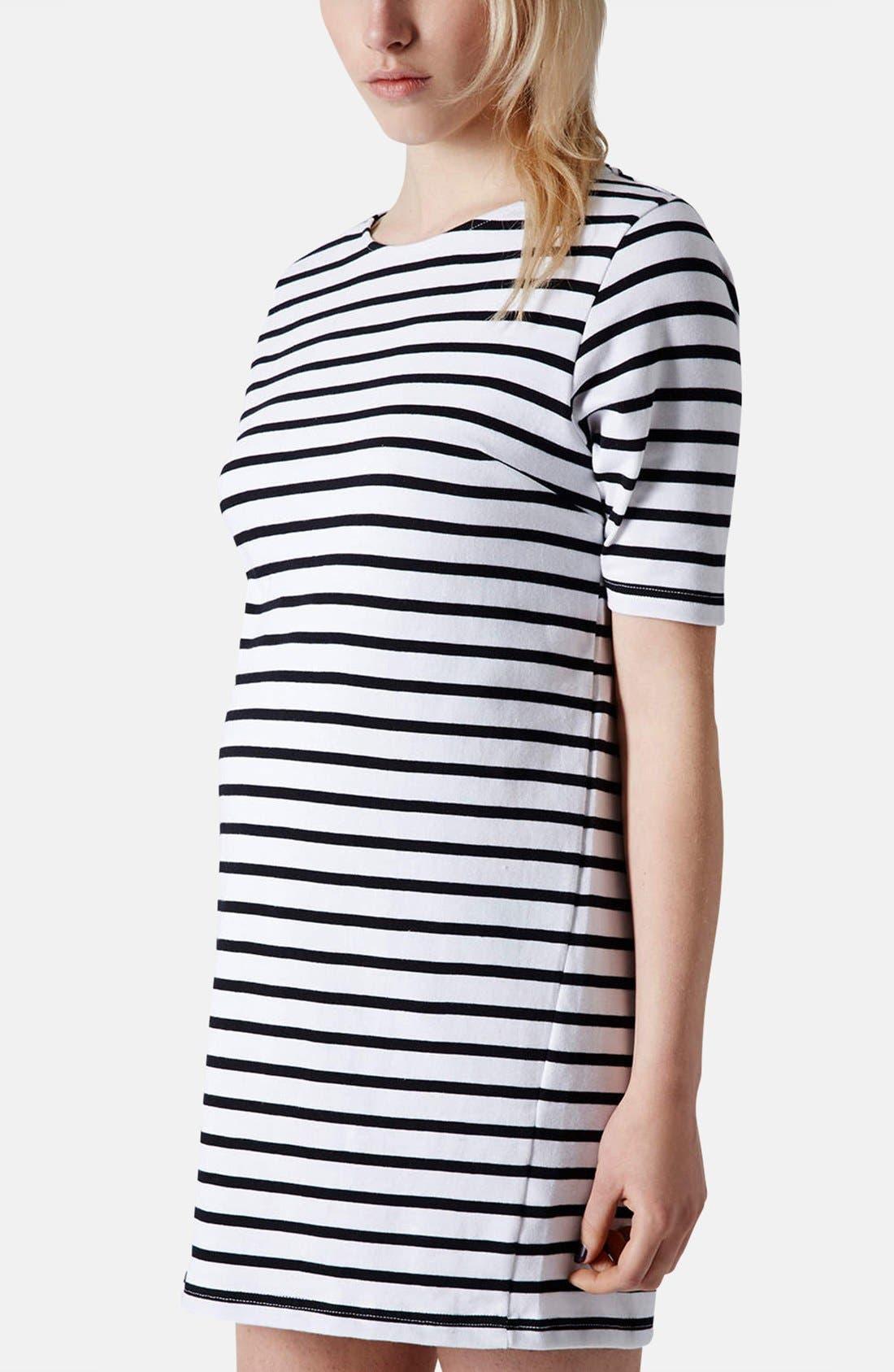 Main Image - Topshop Stripe Cotton Maternity Tunic Dress