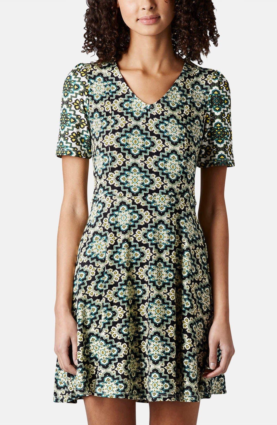 Main Image - Topshop 'Emma' Folk Print Jersey Dress