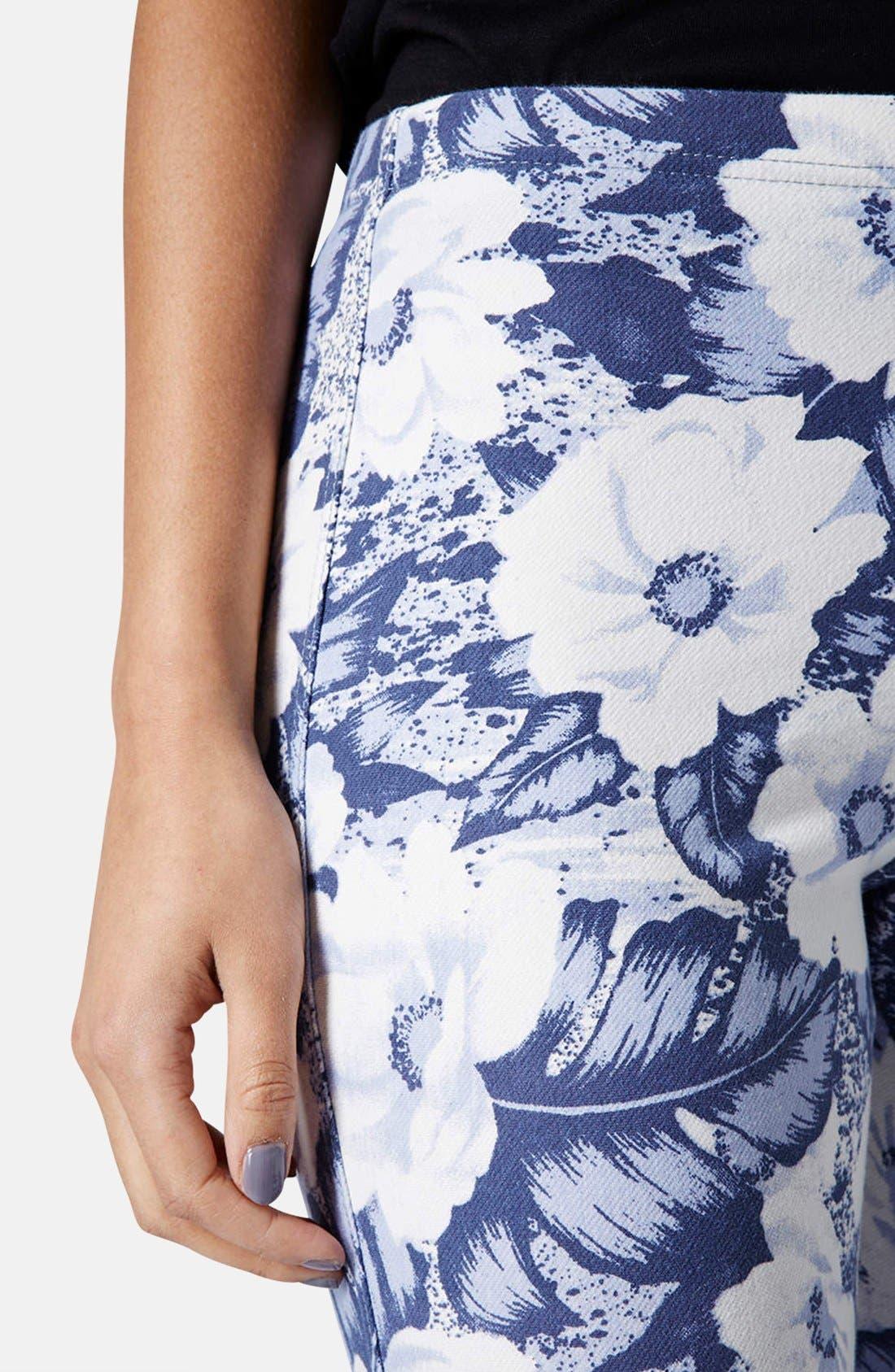 Alternate Image 4  - Topshop 'Aloha Flower' Print Denim Leggings