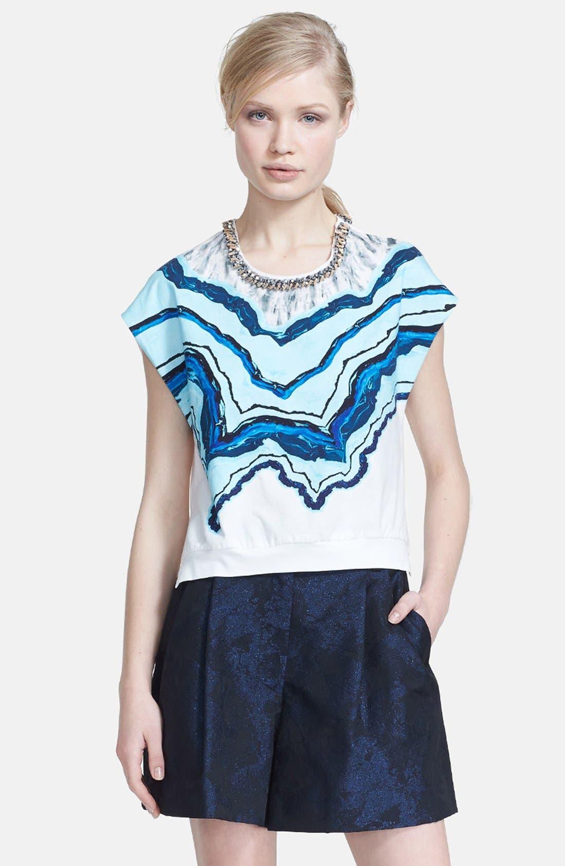 Alternate Image 1 Selected - 3.1 Phillip Lim Beaded Neck Print Cotton Top