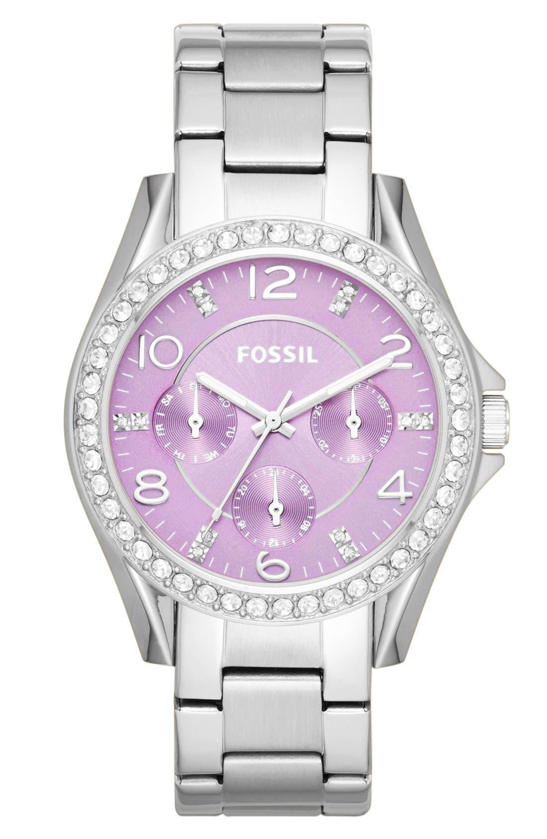 Alternate Image 1 Selected - Fossil 'Riley' Round Crystal Bezel Bracelet Watch, 38mm