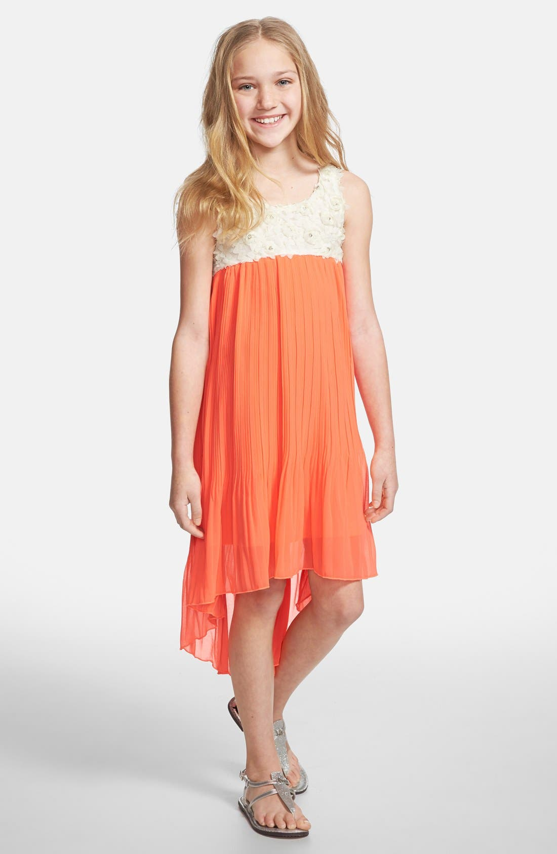 Alternate Image 1 Selected - Truly Me Sleeveless High/Low Dress (Big Girls)