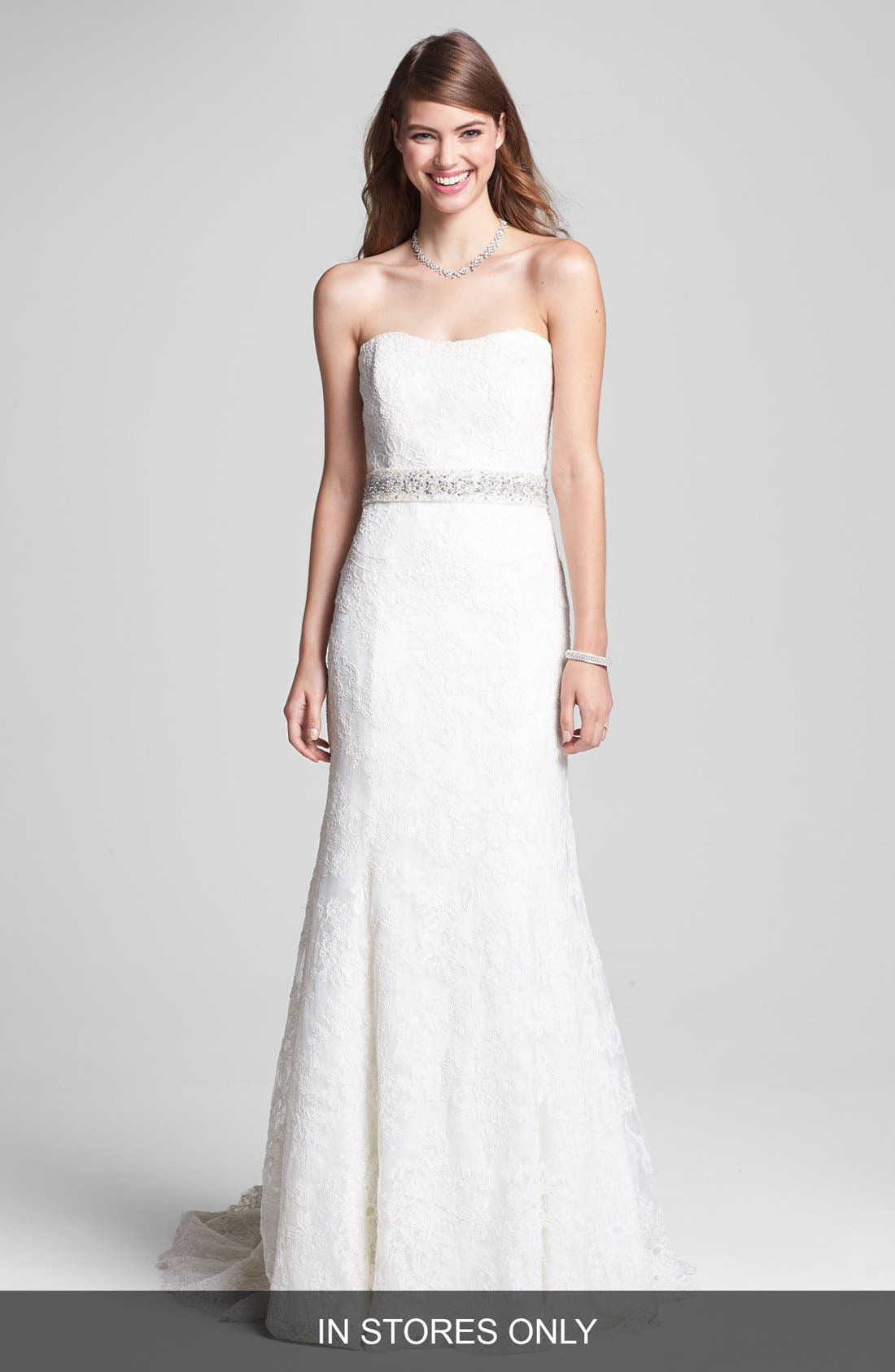 Alternate Image 1 Selected - BLISS Monique Lhuillier Strapless Lace Wedding Dress with Beaded Waist (In Stores Only)