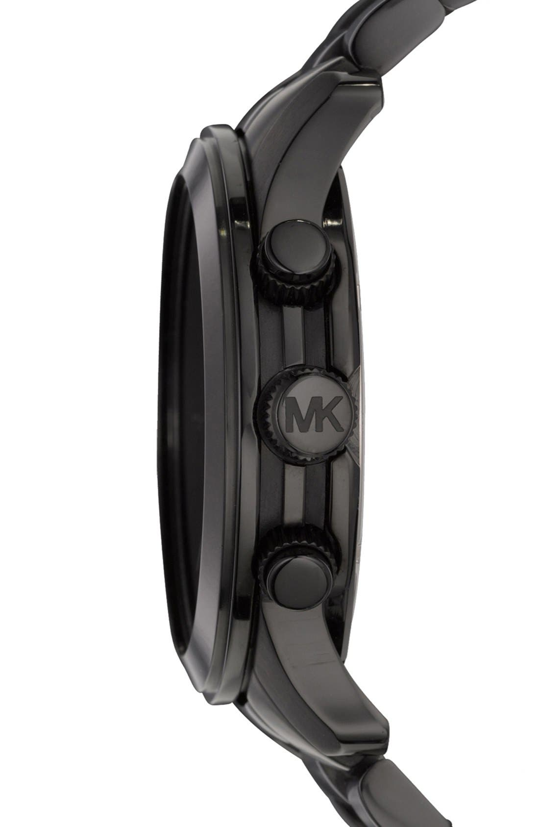 Alternate Image 3  - Michael Kors 'Large Runway' Blacked Out Chronograph Watch, 45mm