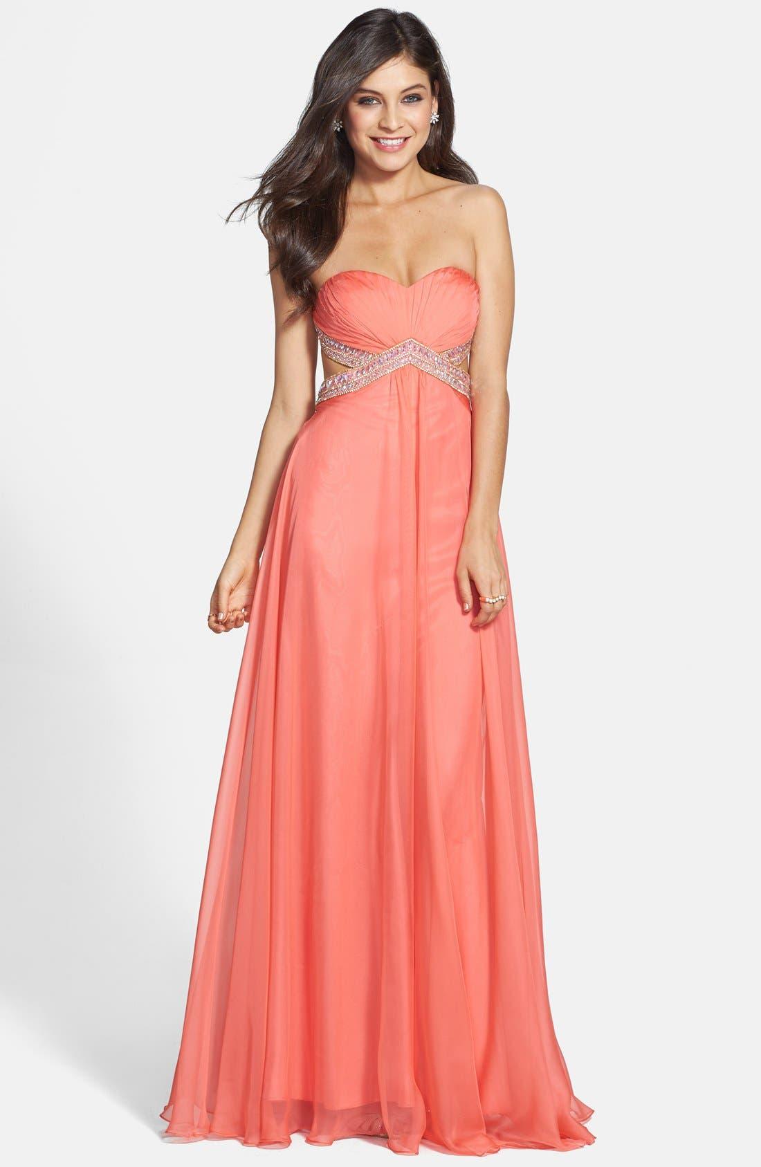 Alternate Image 1 Selected - La Femme Embellished Chiffon Gown