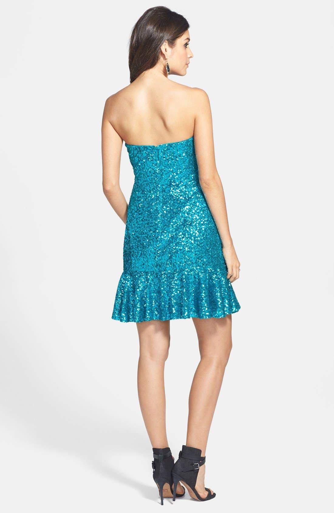 Alternate Image 2  - Aidan by Aidan Mattox Strapless Sequin Flutter Dress