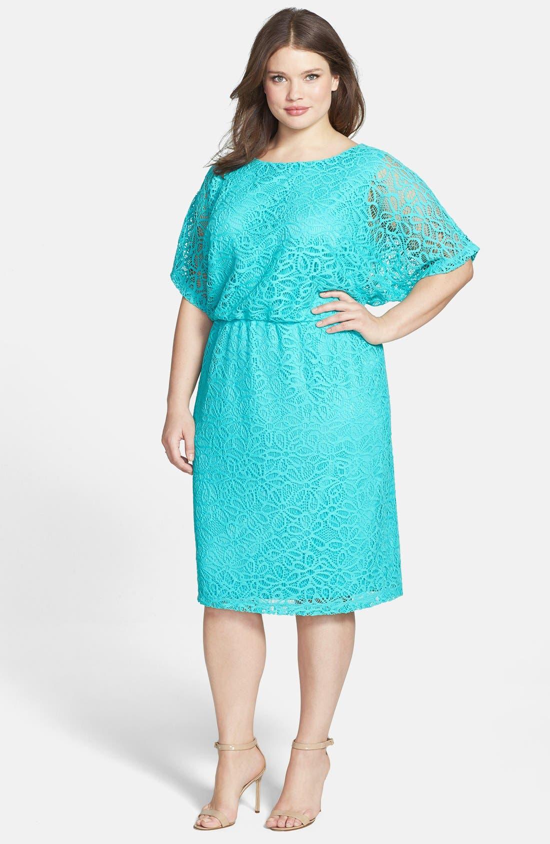 Alternate Image 1 Selected - London Times 'Kimono' Lace Dress (Plus Size)