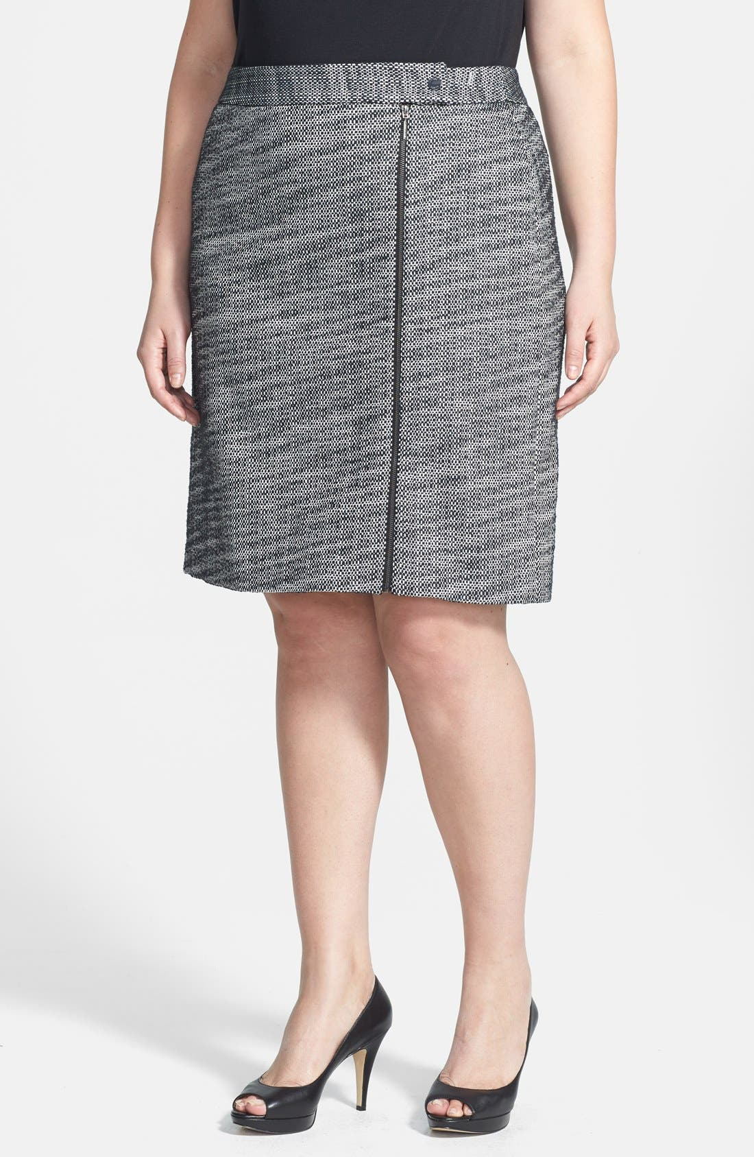 Main Image - Anne Klein Graphic Tweed A-Line Skirt (Plus Size)