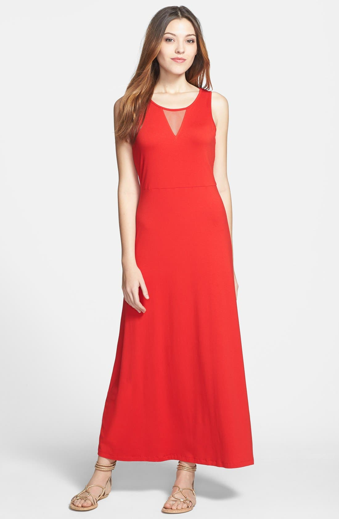 Alternate Image 1 Selected - Vince Camuto Mesh Insert Maxi Dress