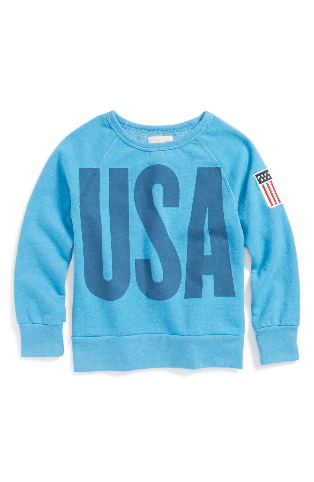 Alternate Image 1 Selected - Peek 'USA' Crewneck Sweatshirt (Toddler Girls, Little Girls & Big Girls)