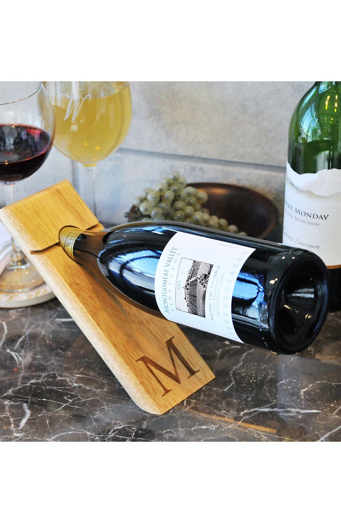 Main Image - Cathy's Concepts Monogram Counter Balance Wine Bottle Holder