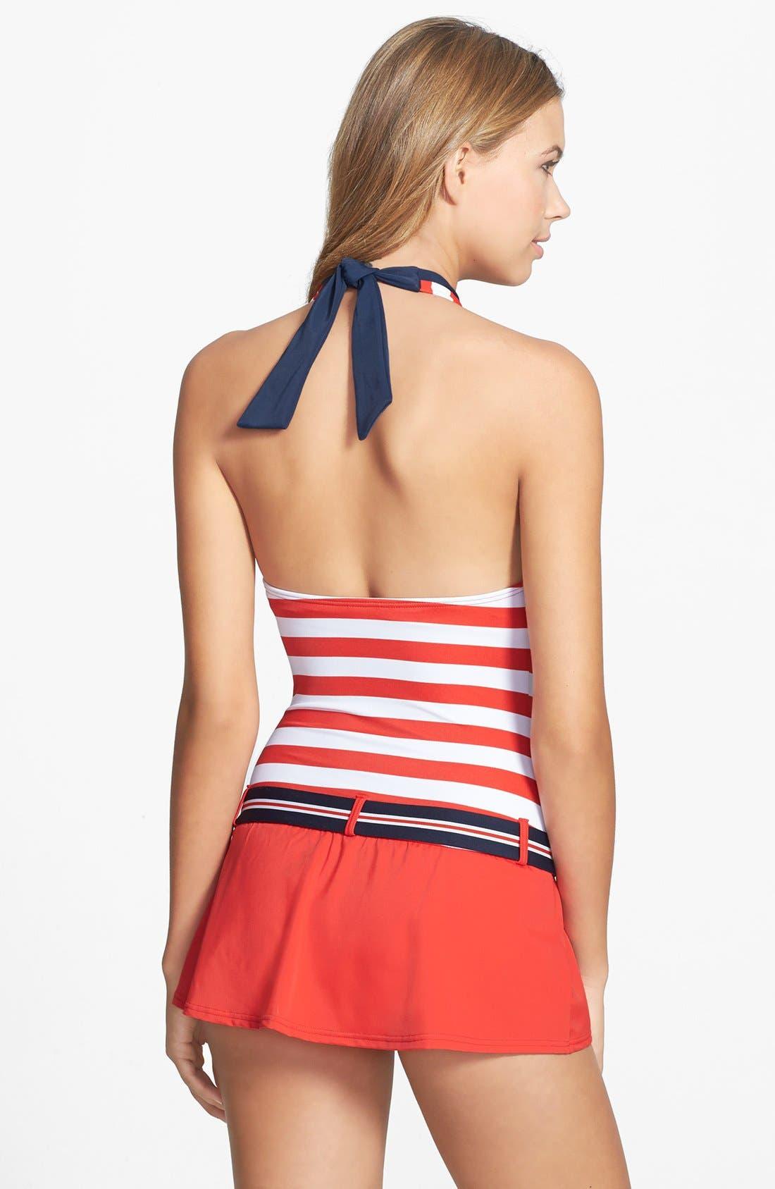 Alternate Image 2  - Tommy Hilfiger Stripe Belted Halter Swimdress