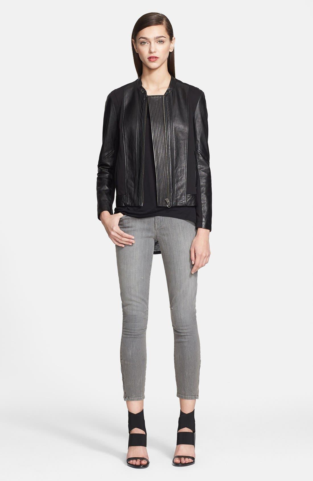 Alternate Image 1 Selected - Helmut Lang Stretch Knit & Leather Jacket