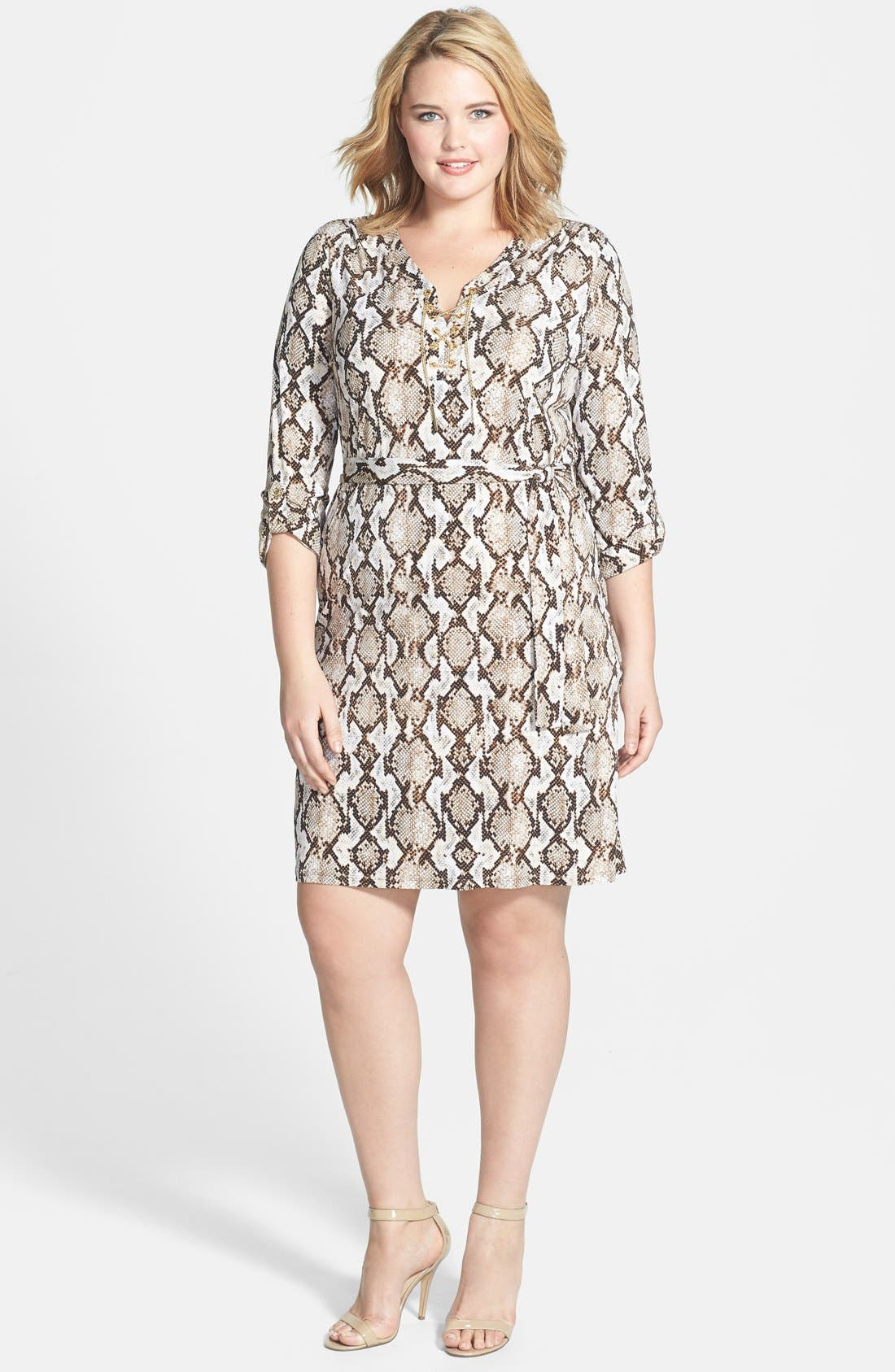 Alternate Image 1 Selected - MICHAEL Michael Kors Chain Lace-Up Jersey Dress (Plus Size)
