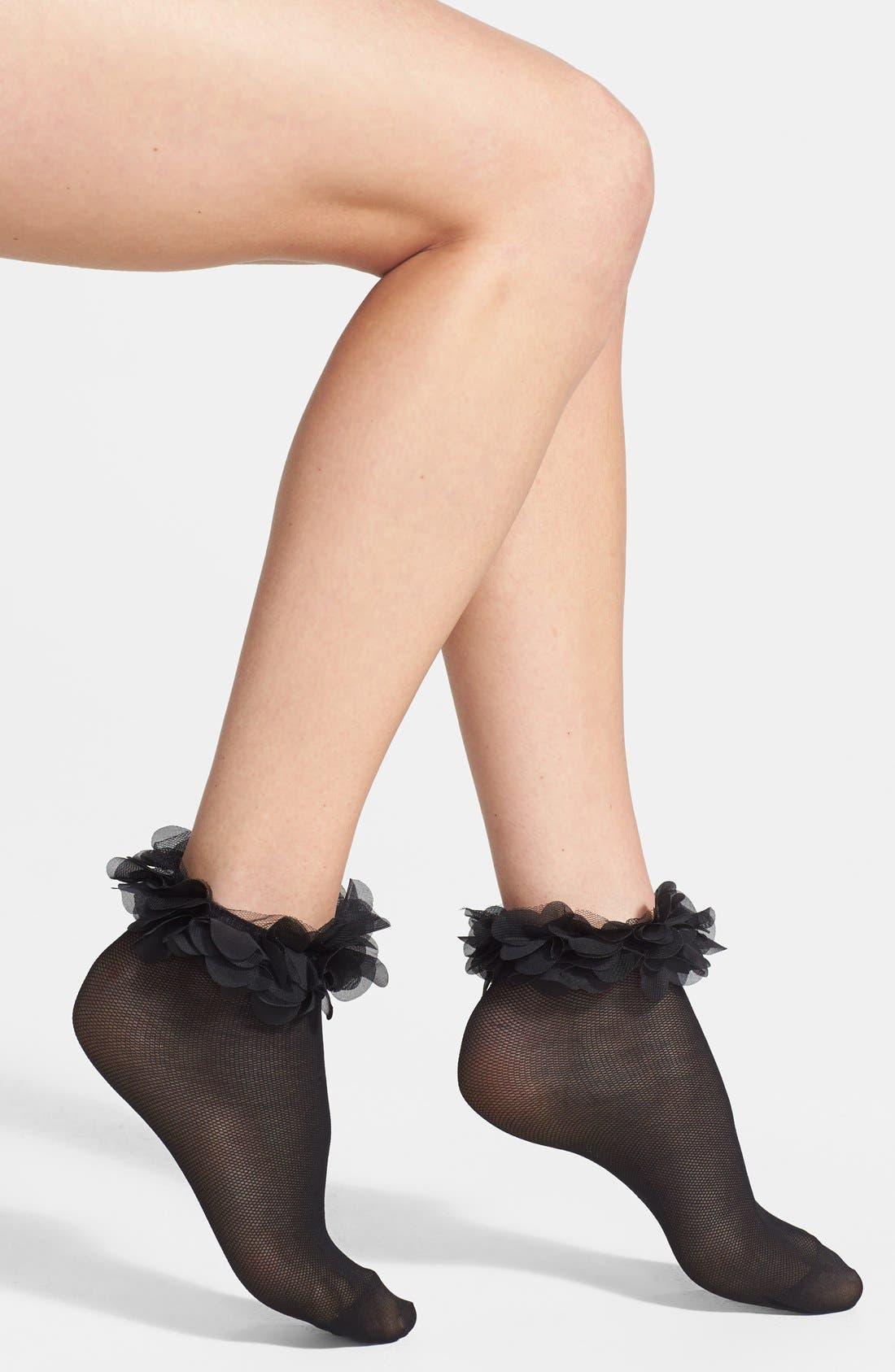 Main Image - kensie Ruffle Cuff Mesh Ankle Socks
