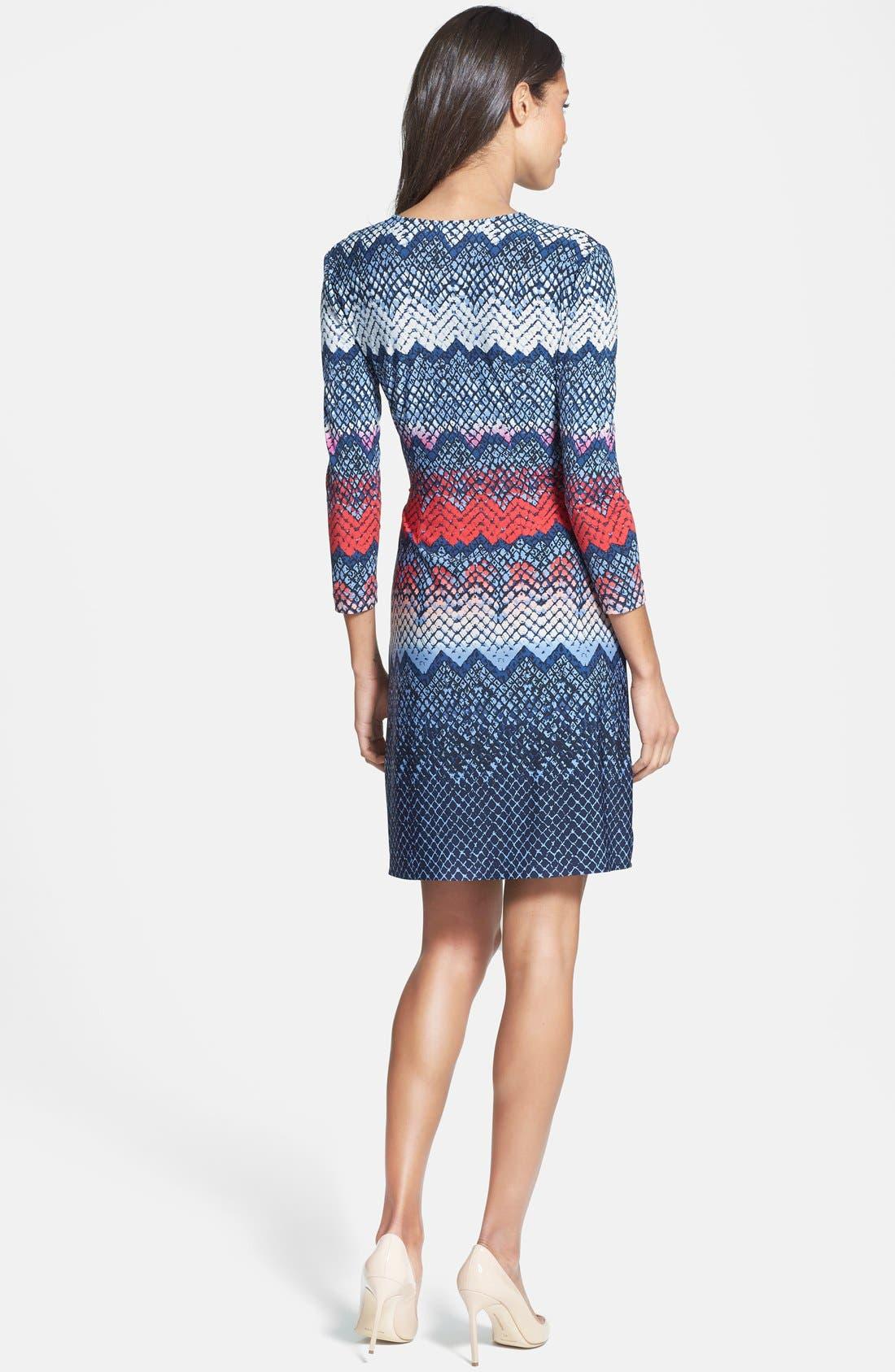 Alternate Image 2  - BCBGMAXAZRIA Print Long Sleeve Jersey Wrap Dress