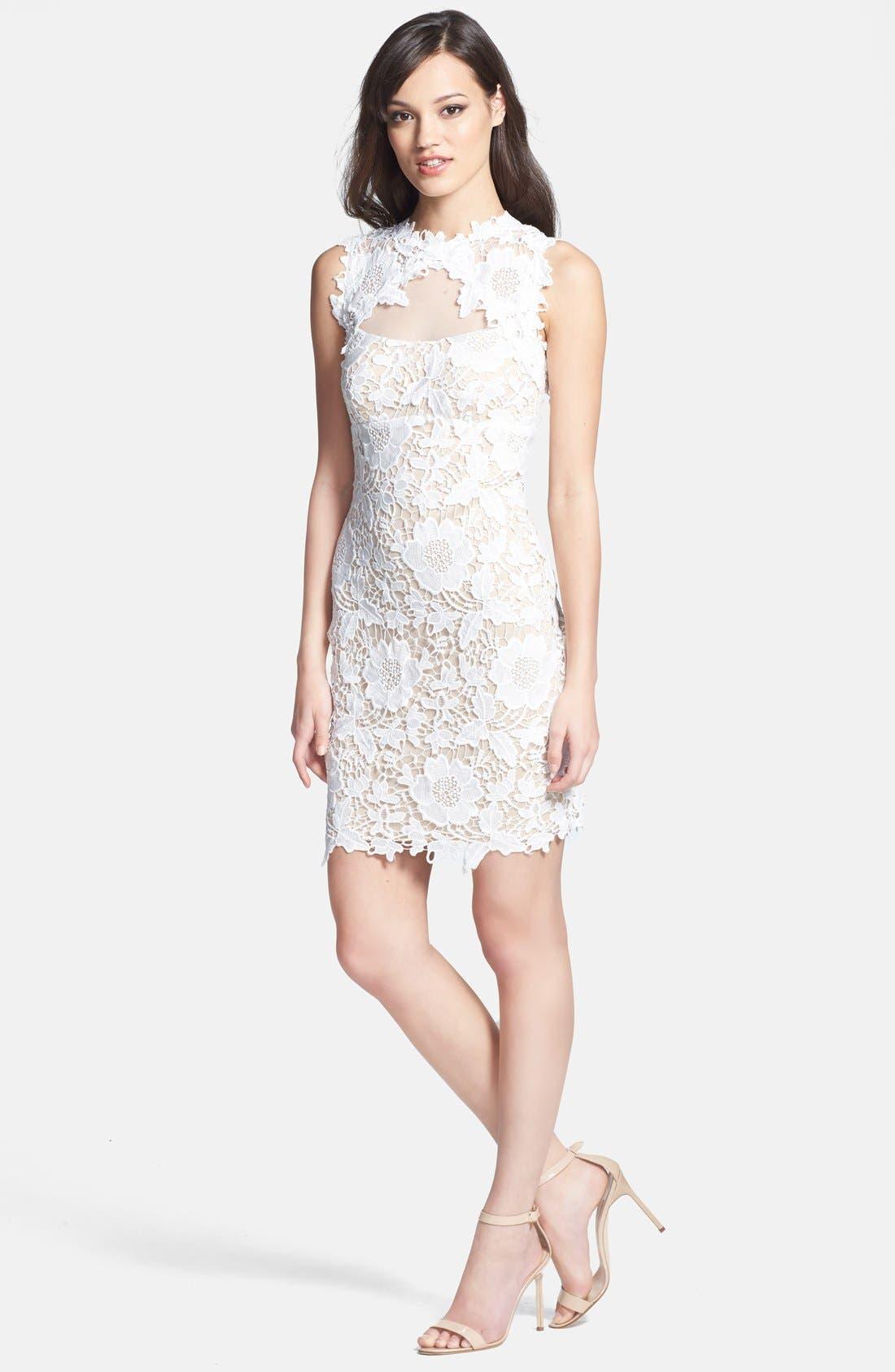 Alternate Image 2  - Betsy & Adam Two-Tone Lace Sheath Dress