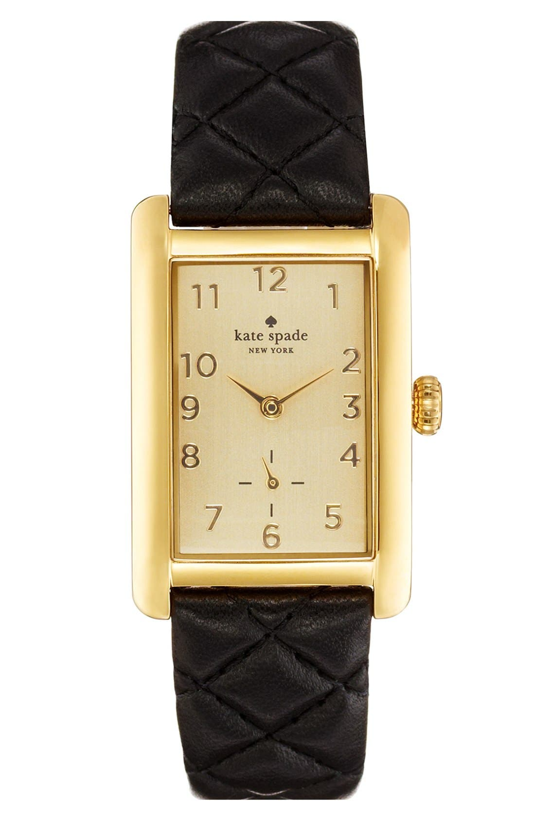 Main Image - kate spade new york 'cooper grand' leather strap watch, 25mm x 38mm