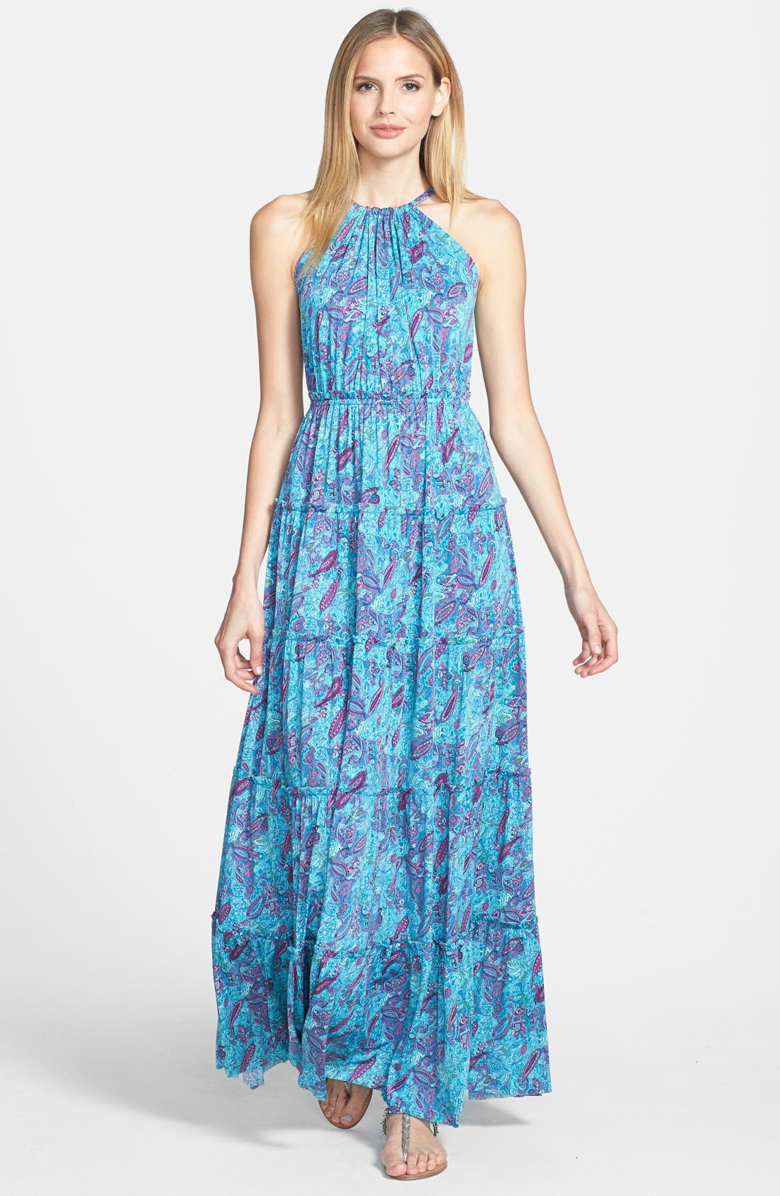 Main Image - Tbags Los Angeles Print Tiered Maxi Dress