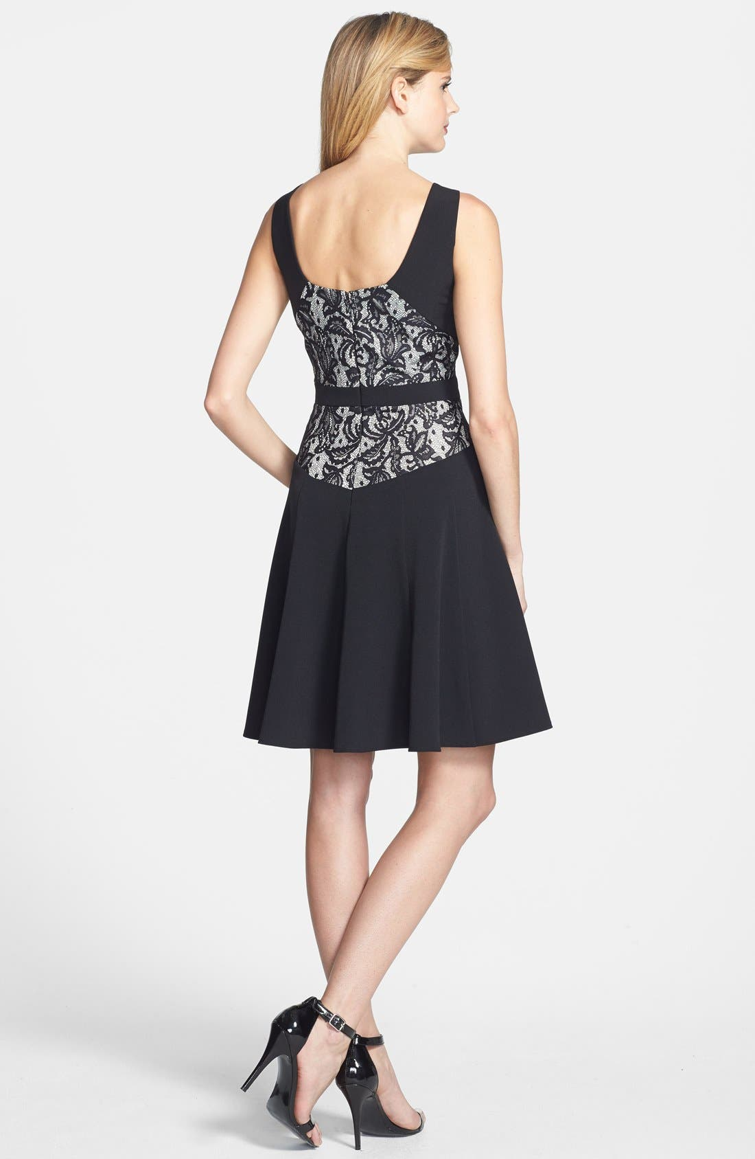 Alternate Image 3  - Taylor Dresses Lace Back Crepe Fit & Flare Dress