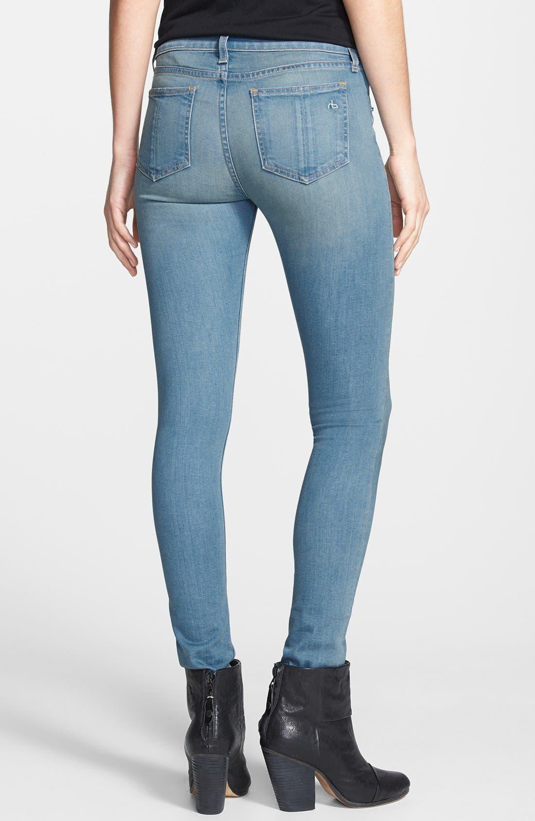 Alternate Image 2  - rag & bone/JEAN High Rise Skinny Jeans (Calvary)