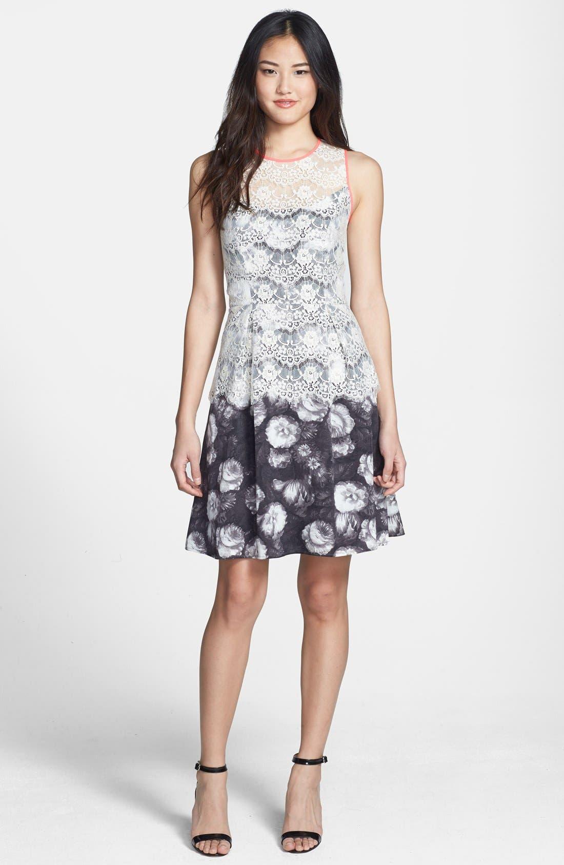Alternate Image 2  - Jessica Simpson Lace Overlay Print Fit & Flare Dress