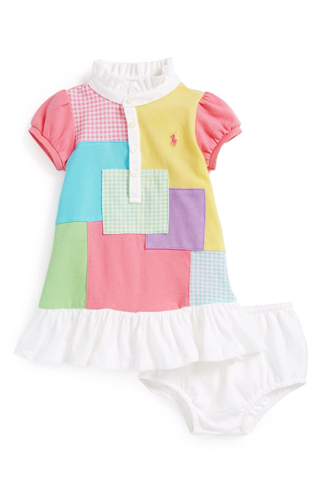 Main Image - Ralph Lauren Patchwork Dress & Bloomers (Baby Girls)