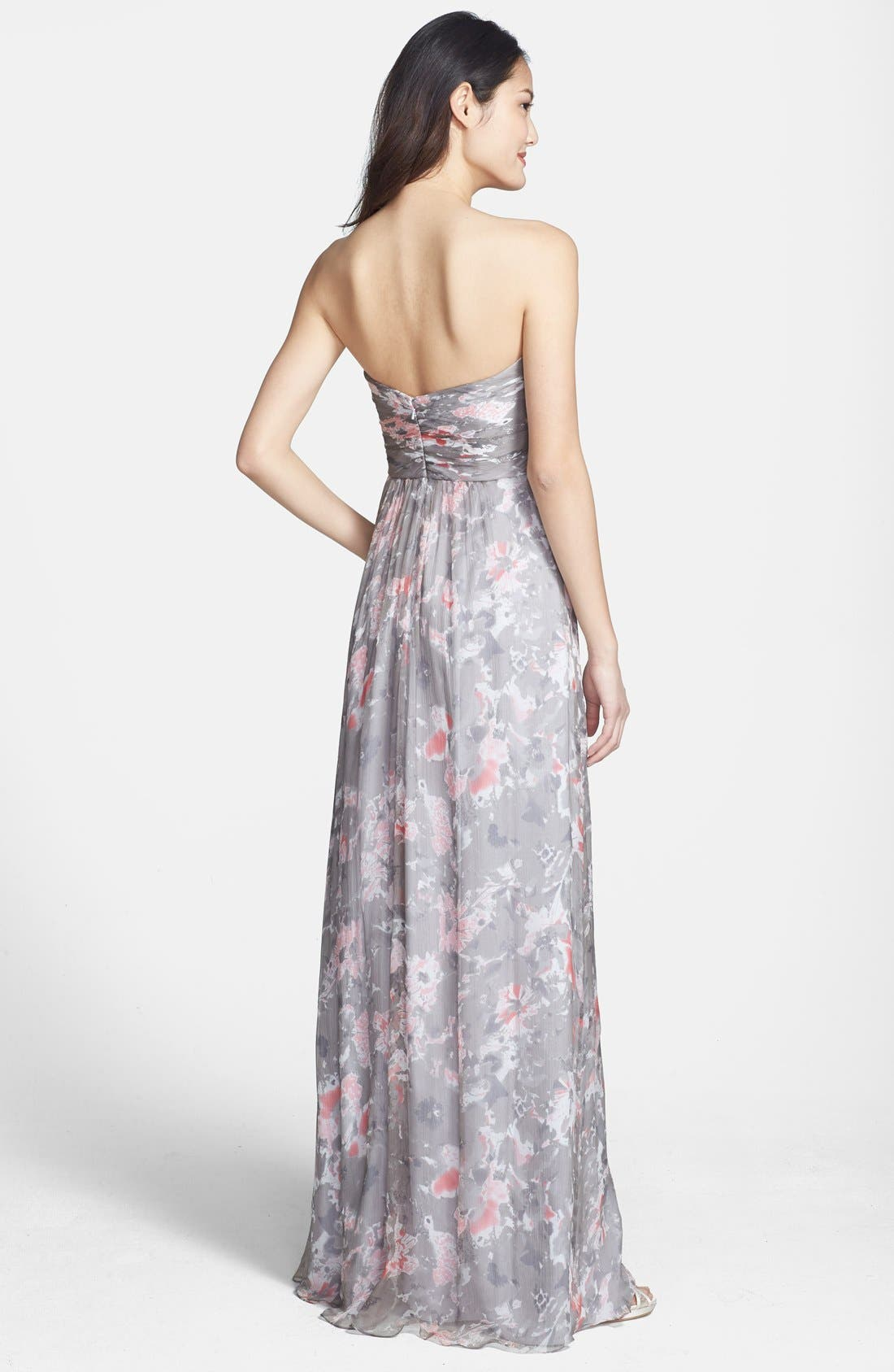 Alternate Image 2  - Amsale 'Amore' Floral Print Silk Chiffon Gown