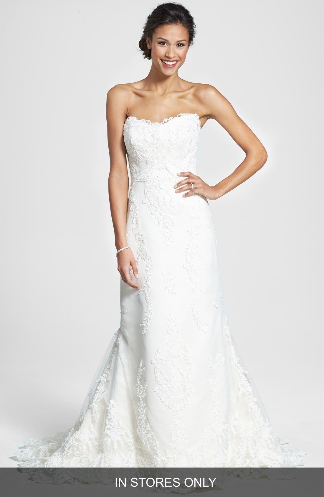 Main Image - James Clifford Collection Embroidered Appliqué Strapless Satin Mermaid Dress (In Stores Only)