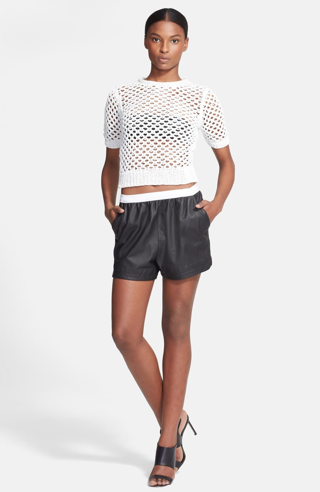 Alternate Image 3  - T by Alexander Wang Open Knit Pullover