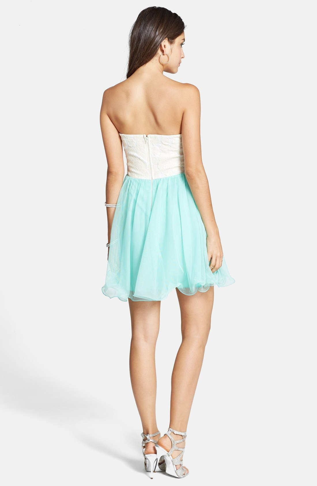 Alternate Image 2  - Way-In Strapless Lace Bodice Party Dress (Juniors)