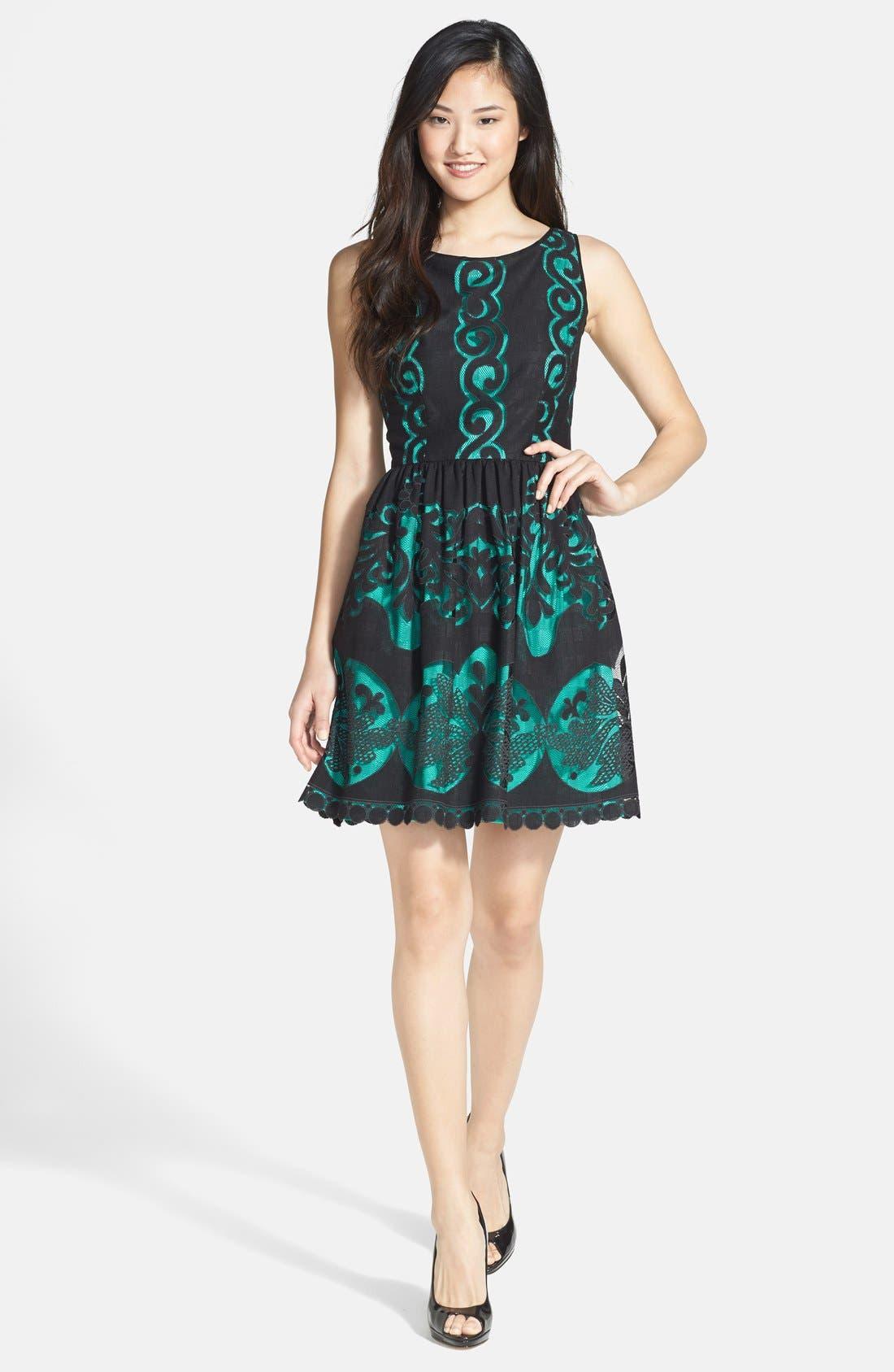 Alternate Image 3  - Ivy & Blu Burnout Lace Fit & Flare Dress