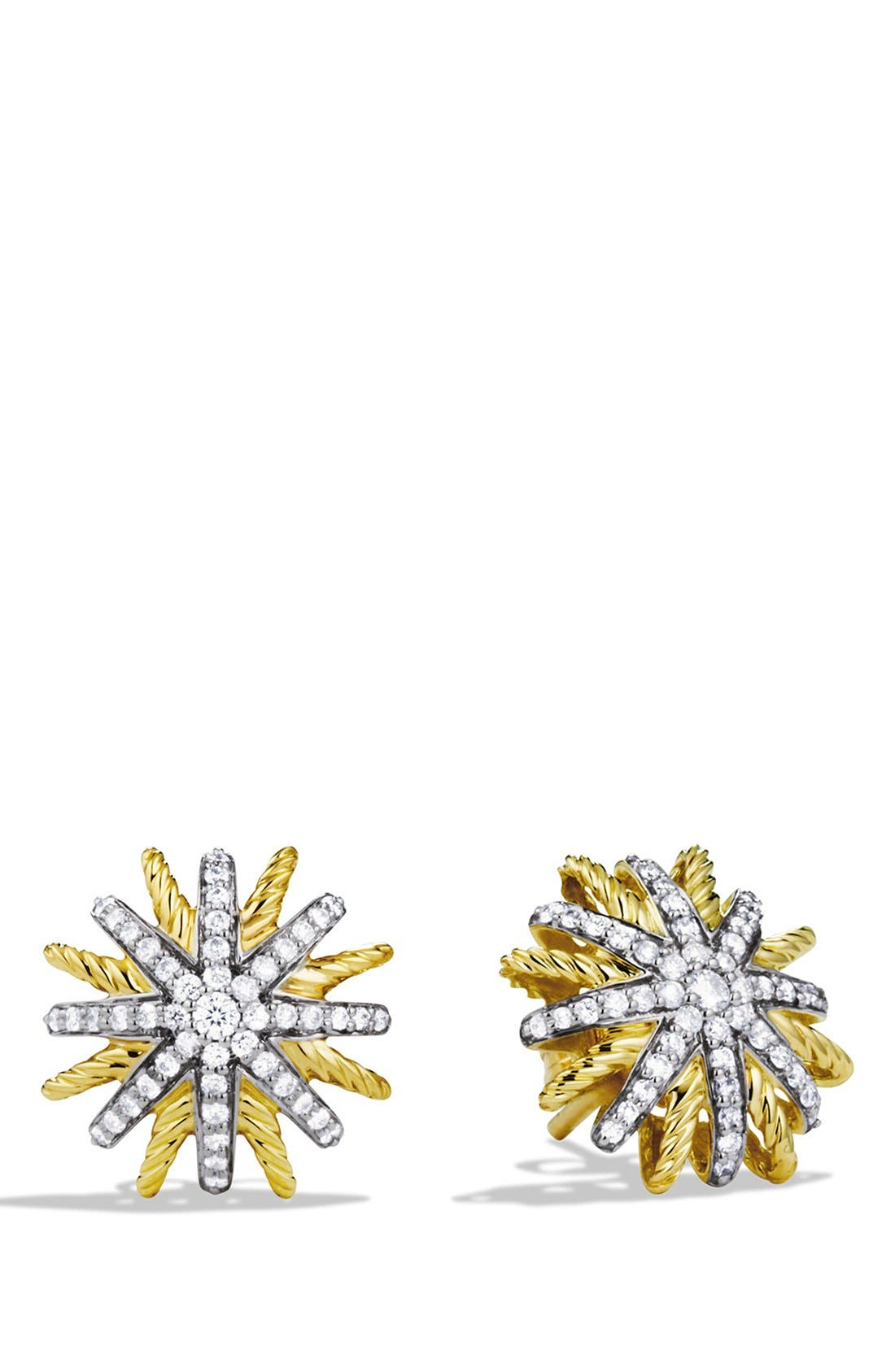 David Yurman 'Starburst' Extra-Small Earrings with Diamonds in Gold