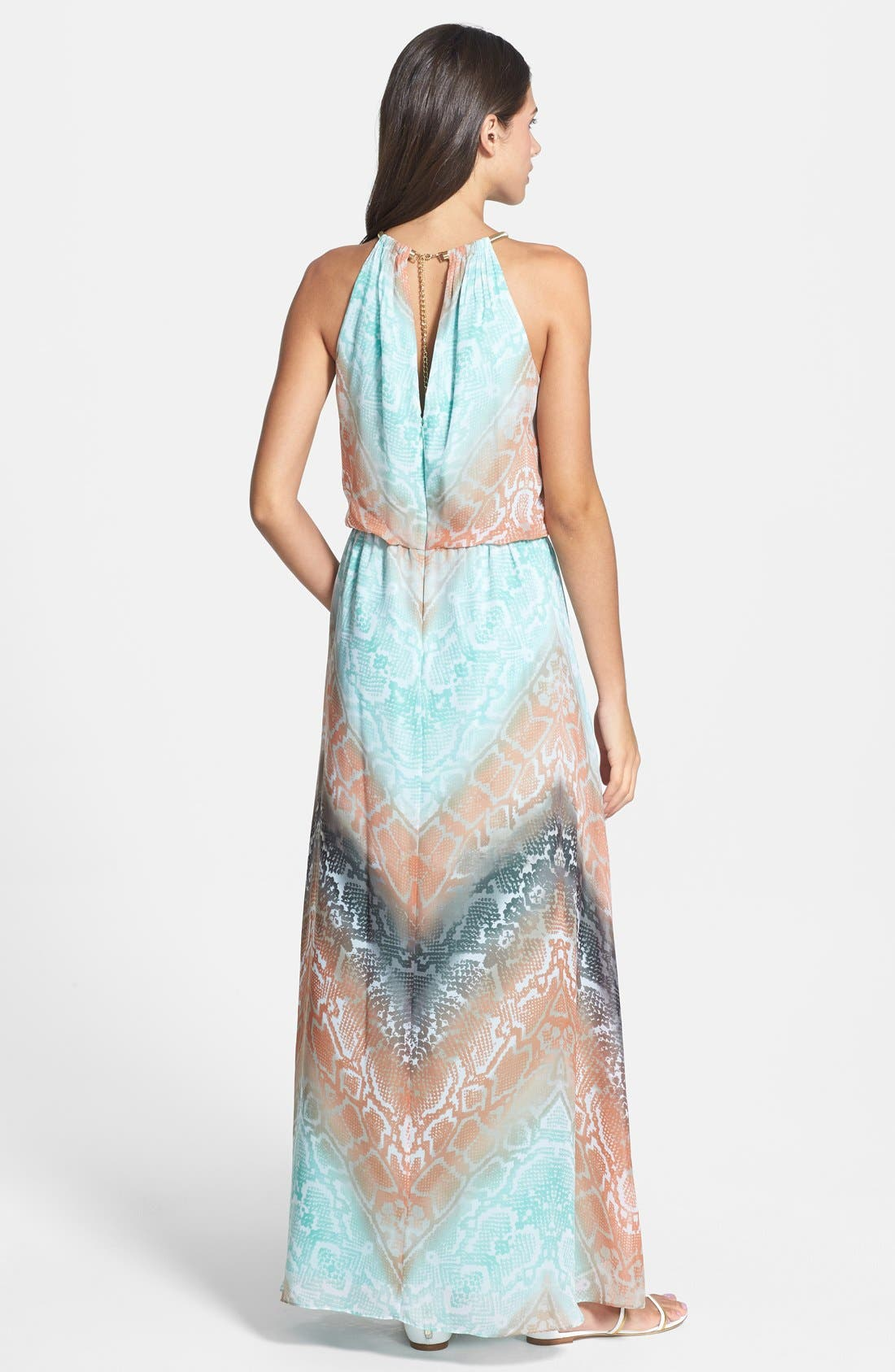 Alternate Image 2  - Vince Camuto Print Chiffon Blouson Maxi Dress