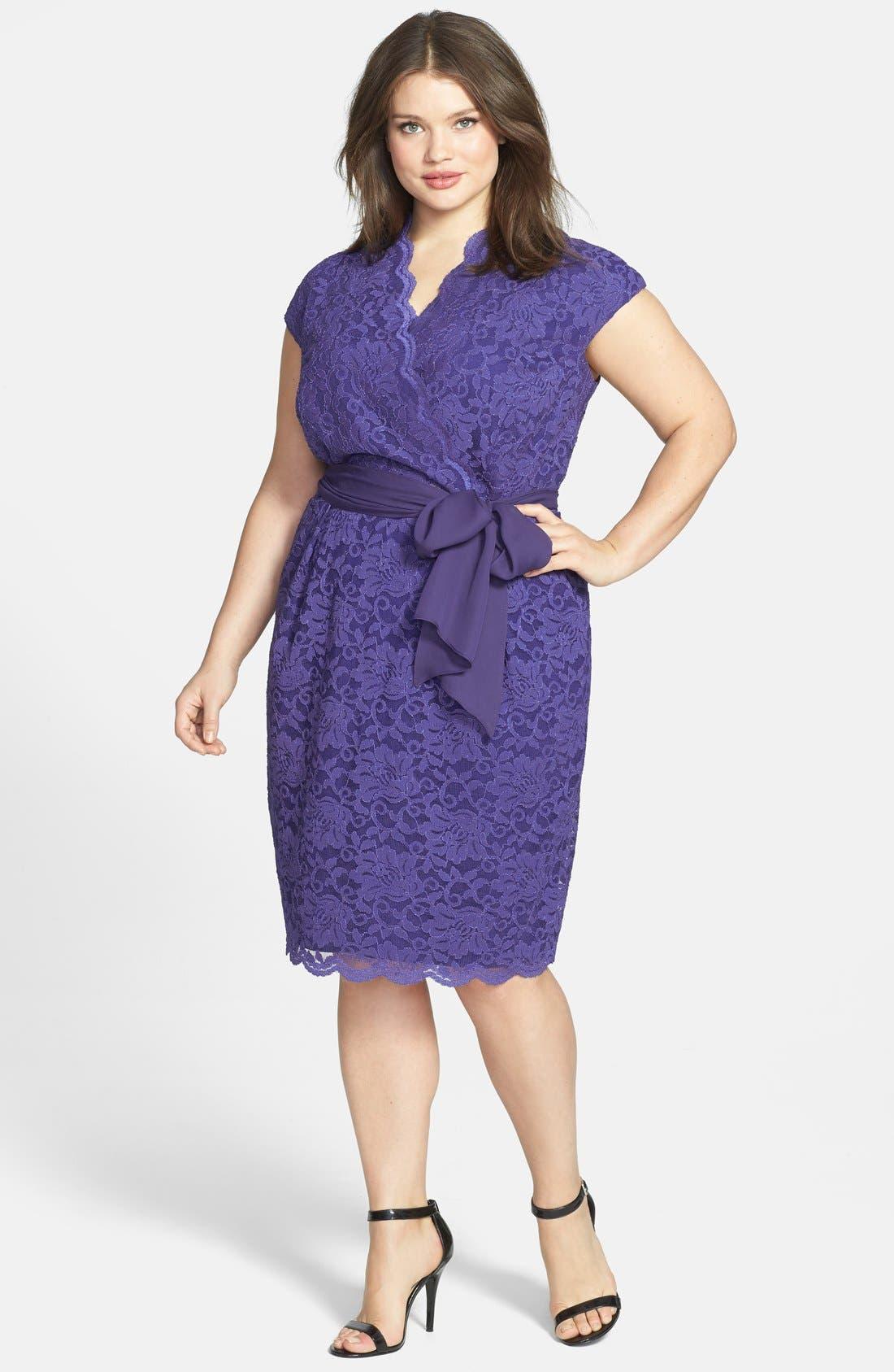 Main Image - Alex Evenings Surplice Neckline Lace Dress (Plus Size)