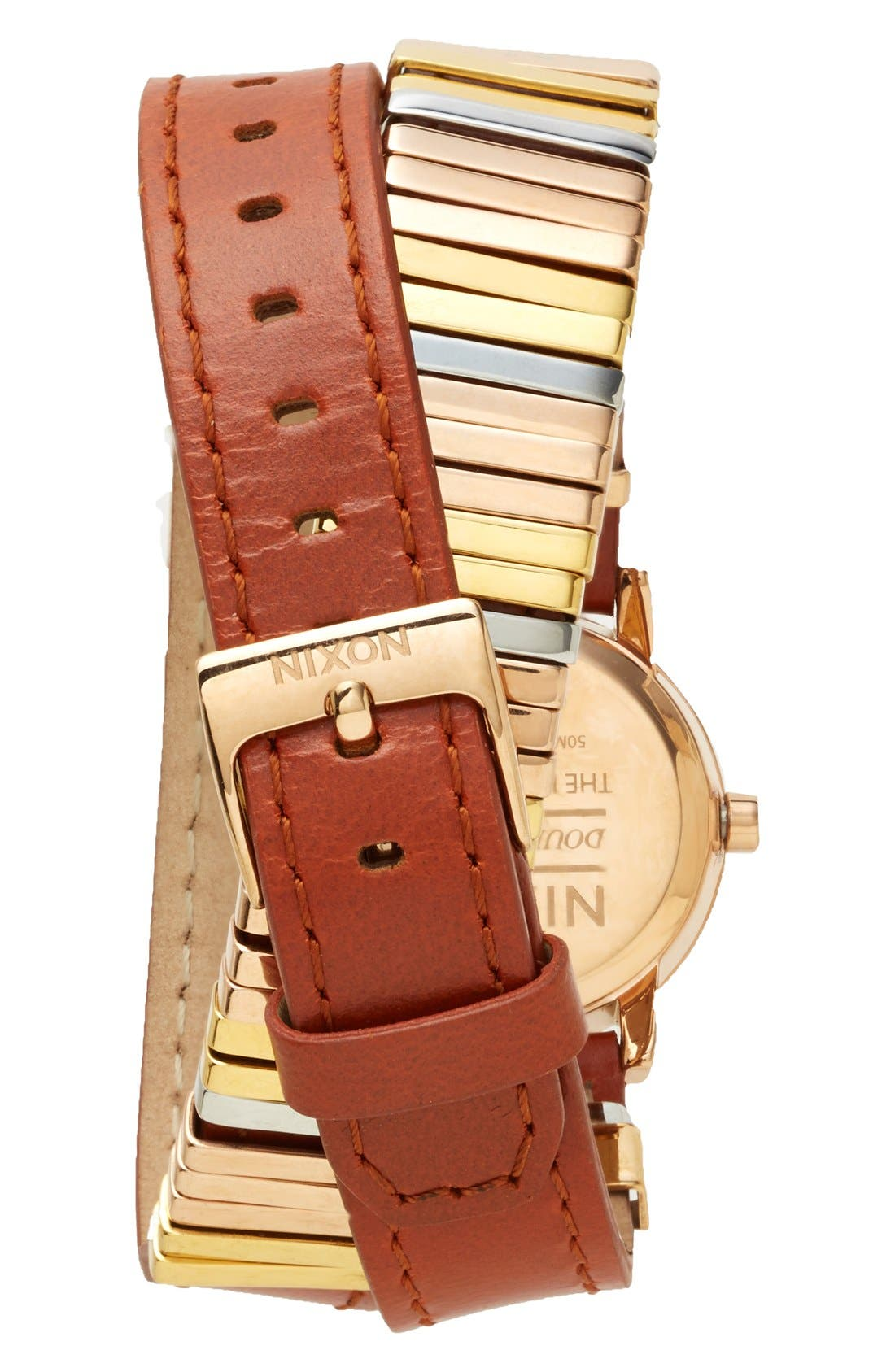 Alternate Image 2  - Nixon 'The Kenzi' Metal Detail Wrap Leather Strap Watch, 26mm