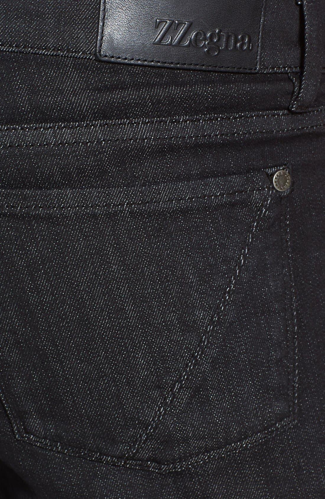 Alternate Image 4  - Z Zegna Slim Straight Leg Jeans (Black Solid)
