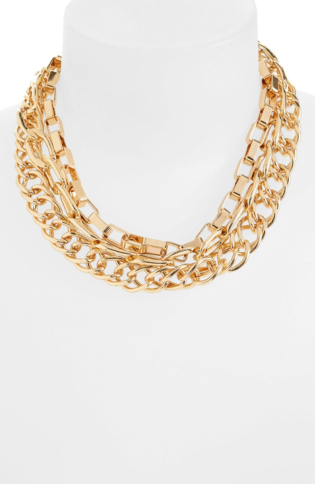 Alternate Image 1 Selected - Topshop Multistrand Mixed Chain Necklace