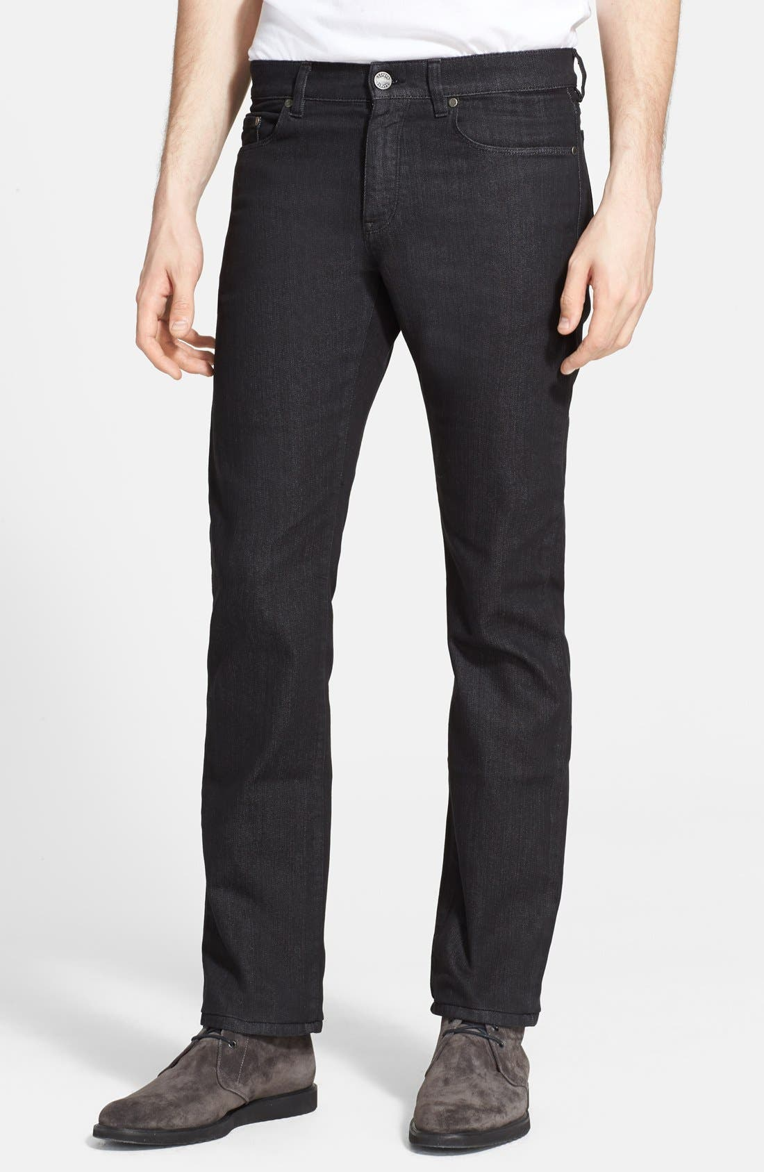 Main Image - Z Zegna Slim Straight Leg Jeans (Black Solid)