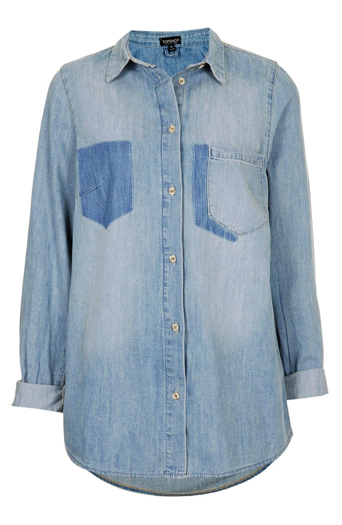 Alternate Image 3  - Topshop Moto Denim Pocket Shirt
