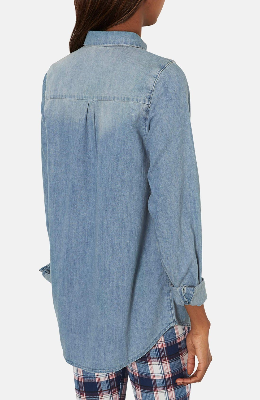 Alternate Image 2  - Topshop Moto Denim Pocket Shirt