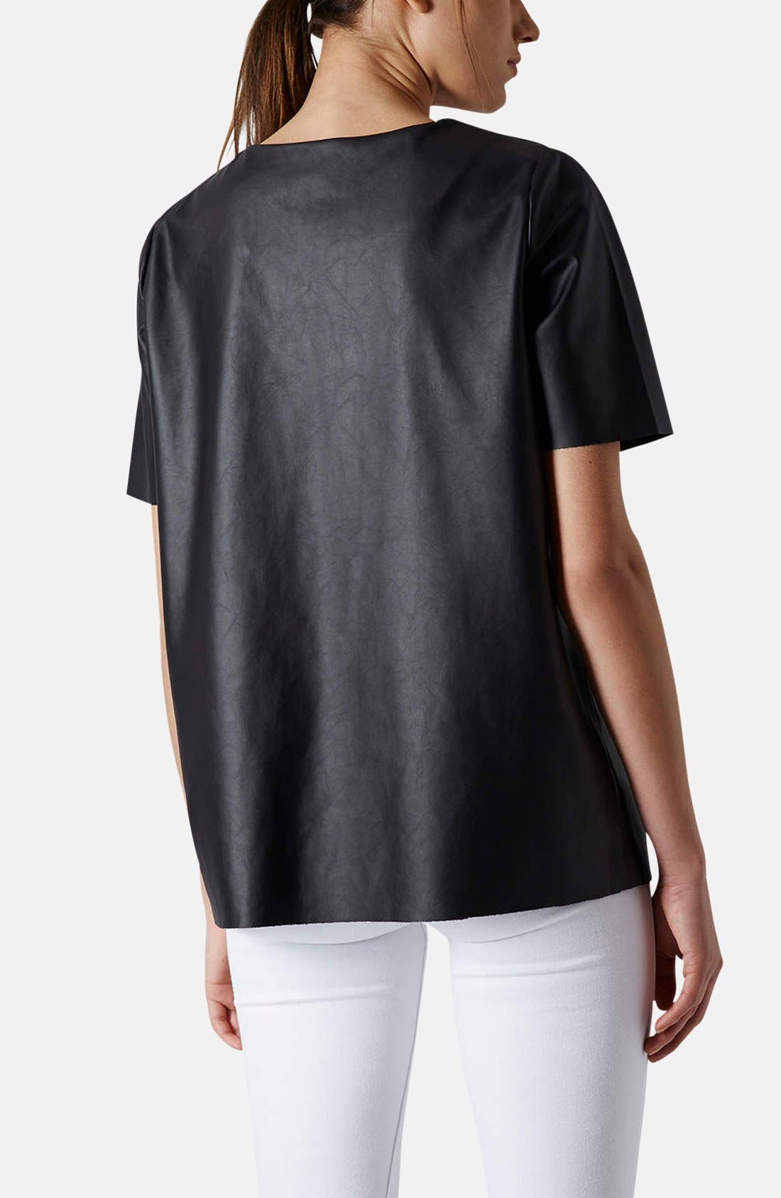 Alternate Image 2  - Topshop 'Faith' Faux Leather Tee