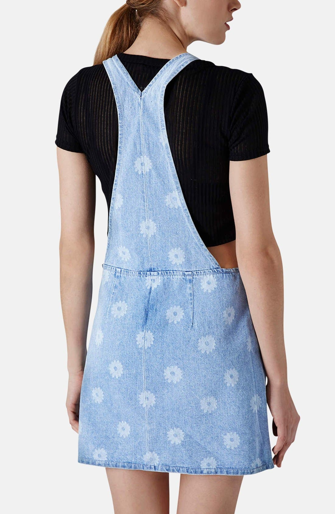 Alternate Image 2  - Topshop Moto Daisy Print Denim Pinafore Dress