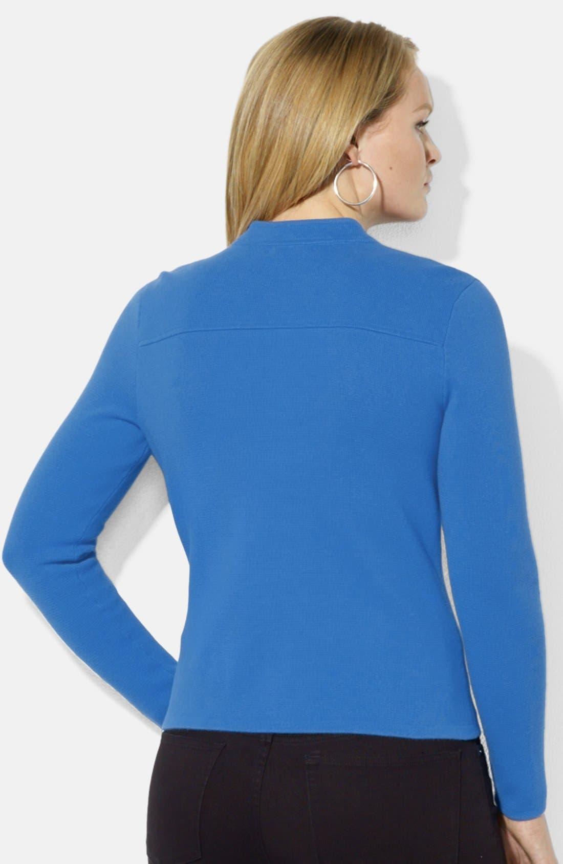 Alternate Image 2  - Lauren Ralph Lauren Fitted Knit Moto Cardigan (Plus Size)