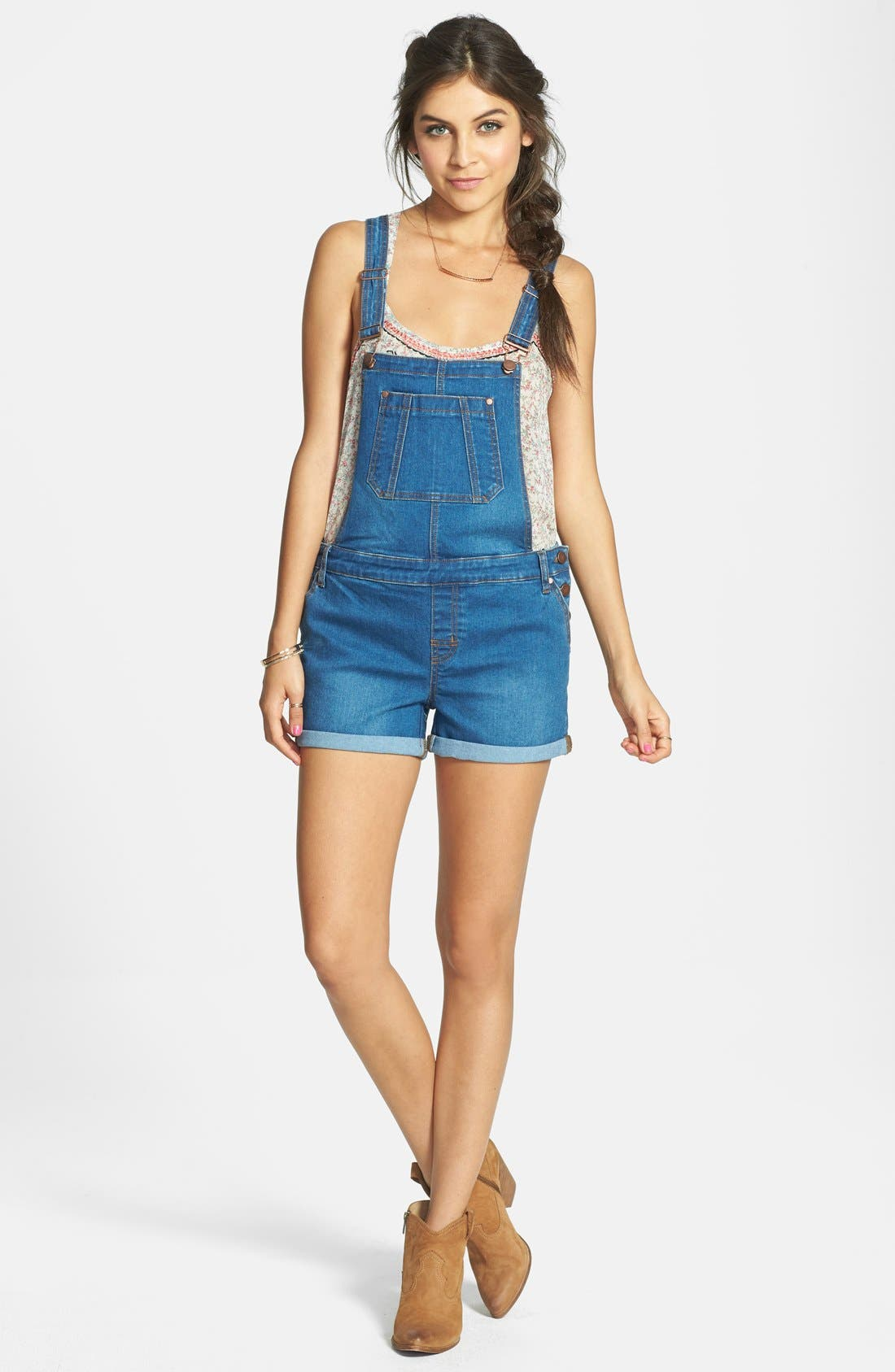 Alternate Image 1 Selected - Fire Cuffed Short Overalls (Dark) (Juniors)